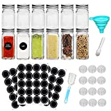 12 Pcs Glass Spice Jars 4oz Square Empty Seasonings Bottlesfor Spice Herbs Small Items Storage and Organization with Shaker Lids Storage Tanks and Spice Bottles