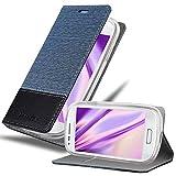 Cadorabo Funda Libro para Samsung Galaxy S3 Mini en Azul Oscuro Negro - Cubierta Proteccíon con Cierre Magnético, Tarjetero y Función de Suporte - Etui Case Cover Carcasa