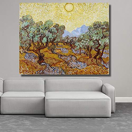 YXBNB 1 Leinwandbild 1 Stücke Embelish Wandkunst Landschaft Bilder Für Wohnzimmer Olivenbäume Unter Der Sonne Leinwand Malerei Wohnkultur Bilder