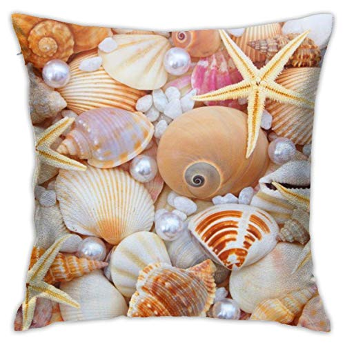 EU Nice Clam Beads and Shells Decorative Throw Pillow Cover Invisible Zipper Closure Cushion Case for Home Sofa Bedroom Car Chair House Party Indoor Outdoor 18x18 Inch