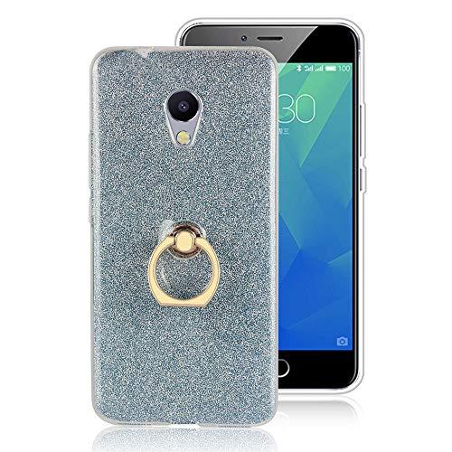 GARITANE Hülle für Meizu MX4 Pro,Bling Glitzer Handyhülle Clear Silikon Bumper Tasche Hülle Cover mit Ring Ständer Fingerhalterung (Blau)