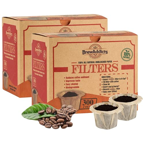Brew Addicts Disposable K-Cup Filters - 600 Single Serve Unbleached...