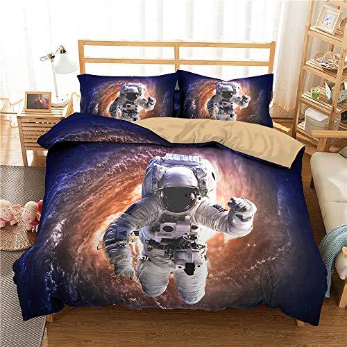 HGFHGD Farbiges 3D-Weltraum-Astronauten-Bettwäsche-Set für Jungen, Erwachsene, Kinder, Bettbezug-Set, Kissenbezug, Steppdecke, Bettbezug