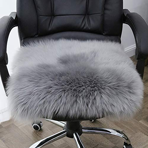 YOH Faux Fur Square Sheepskin Rugs Ultra Soft Fluffy Chair Cover Seat Cushion Pad Area Rugs Shaggy Wool Carpet for Living Room Bedroom Sofa, 1.6ft x 1.6ft, Grey