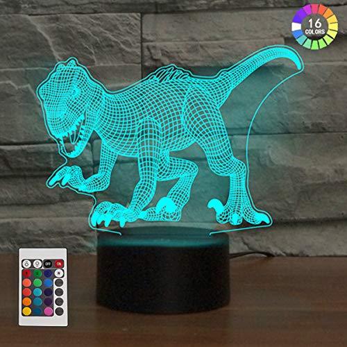 3D Illusion Lampe LED Nachtlicht, KidsPark Optische 3D-Illusions-Lampen Tischlampe Dinosaurier Nachtlichter Farbwechsel Kinder Nachtlampe Schreibtischlampe mit 150cm USB-Kabel & Fernbedienung