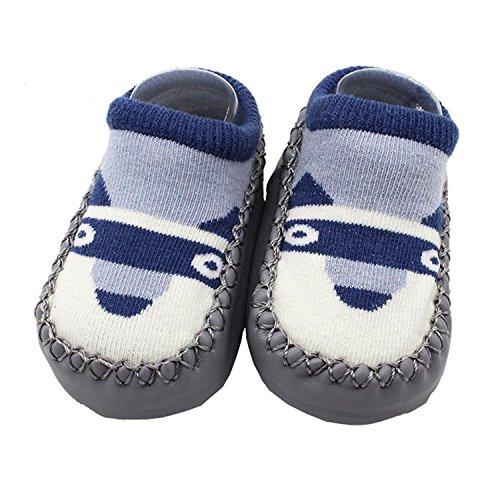 Sunward 1 Pair Cute Cartoon Unisex Toddler Baby Cotton Anti-slip Slipper Floor Socks Shoes (6-12M, D)