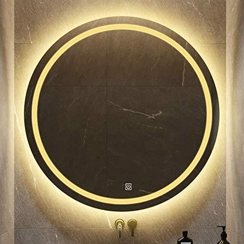 Espejo LED Deluxe - Borde Pulido Sin Marco, LED Redondo Iluminado Espejo de baño, Superficie de Espejo a Prueba de explosiones HD, luz Blanca/Caliente, Interruptor táctil + Pantalla de Reloj/Tempe