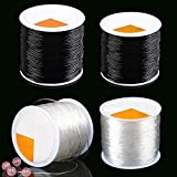 LABOTA 4 Rolls 0.8mm/1mm Elastic Bracelet String, Crystal Stretchy Stretch Bead Cord for Jewelry Making Bracelet Beading Thread 100m/roll(Black and Clear)