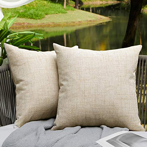 WAYIMPRESS Outdoor Pillows for Patio Furniture Waterproof Pillow Covers Square Garden Cushion Farmhouse Linen Throw Pillow Covers Shell for Patio Tent Couch 20 X 20 Inch Cream