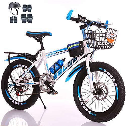 LINGYUN Carbon Steel Boys Mountain Bike, Double Disc Brake Student Sports Commuter Bike, with Front Basket and Back Seat, for 8-15 Years Old,White,18in