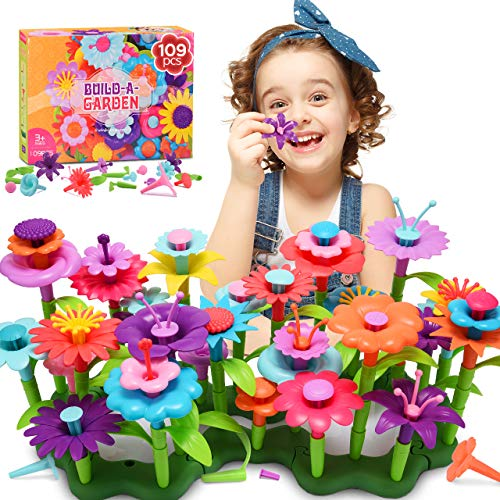 Snoky Birthday Gifts for Girls Age 3-12 Flower Garden Building Toys for Girls Ages 4-8 Kids Toys 4-5 Year Old Educational Learning Toy Indoor Toys for Toddlers Age 3-5 Xmas Stocking Fillers (109PCS)