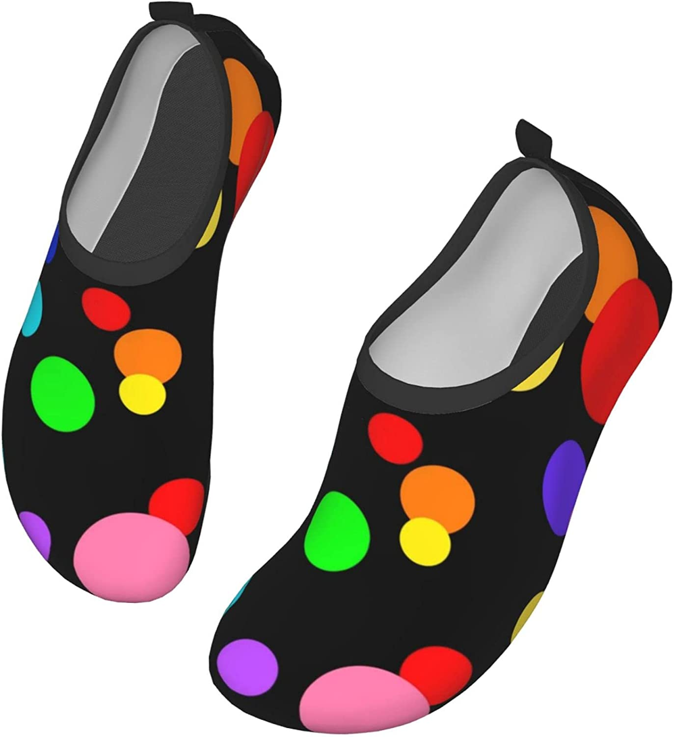 Fasso Colorful Polka-Dotted Womens and Mens Water Shoes Barefoot Quick-Dry Aqua Socks Slip-On for Outdoor Beach Swim Yoga