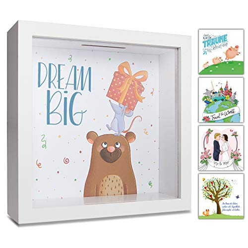 GLÜCKSWOLKE - Spardose Kinder I Motiv Dream Big I Money Box Kids I Piggy Bank for Girl Boy I Photo Frame I 3D Picture Box I Moneybox I Gifts for Cash to Birthday, Baby Shower, Christmas or Christening