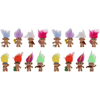 Chromatic 16pcs Lucky Troll Doll Dams Mini Action Figures Toy Cake Toppers