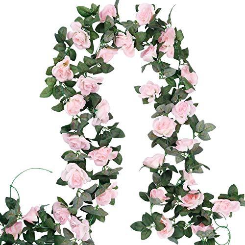 4 Stück Künstliche Rosen-Girlande hängende künstliche Blumen Körbe Pflanzen Ranken rosafarbene Seidenrosen für den Innen- und Außenbereich Wanddekoration Zuhause Party Garten Tisch-Arrangement