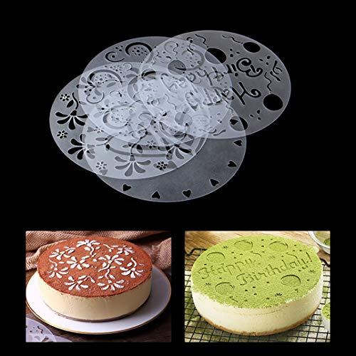 iSuperb 4 plantillas para decoración de tartas, moldes de galletas, herramientas de decoración para tartas (4 plantillas para tartas)