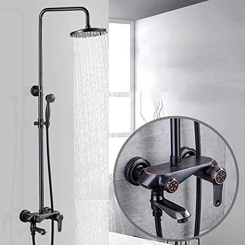 WEI-LUONG Baño Set de ducha de cobre de estilo europeo Galvanizado metal Negro la cabeza de ducha de Hogares agua caliente y fría de cuatro velocidades juego de ducha de suministro de agua Ducha Siste