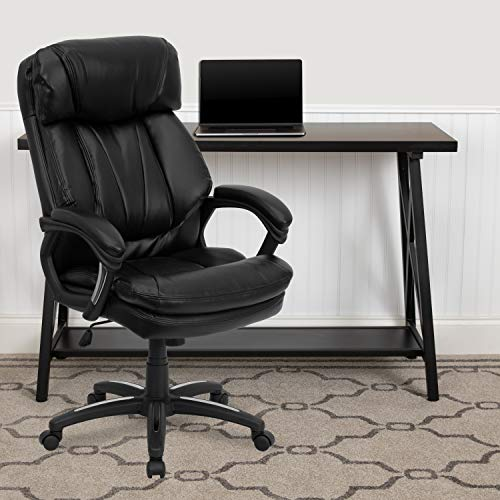 Big Sale Flash Furniture GO-1097-BK-LEA-GG Hercules Series High Back Black Leather Executive Office Chair