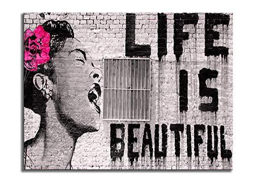 Wieco Art Lienzo Impreso de Banksy Life is Beautiful Modern estirado y Enmarcado Giclée Ilustraciones Gris Amor Cuadros en Lienzo Arte de Pared para recámara hogar Oficina Decoraciones