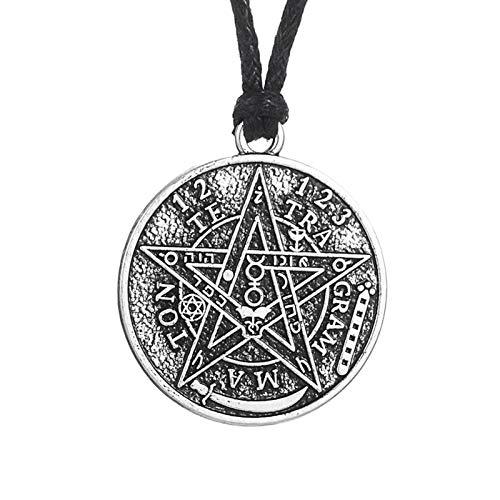 YioKpro Collar con Colgante de Pentagrama de Tetragrammaton Vintage a la Moda vikinga para Mujeres y Hombres, joyería Wicca Wicca, Gargantilla de Cadena de Cuero Goth