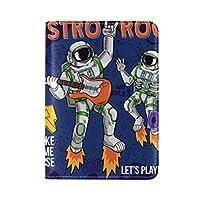 宇宙飛行士宇宙飛行士ギタースター惑星銀河旅行男性女性のためのパスポートホルダー本革カバーケース