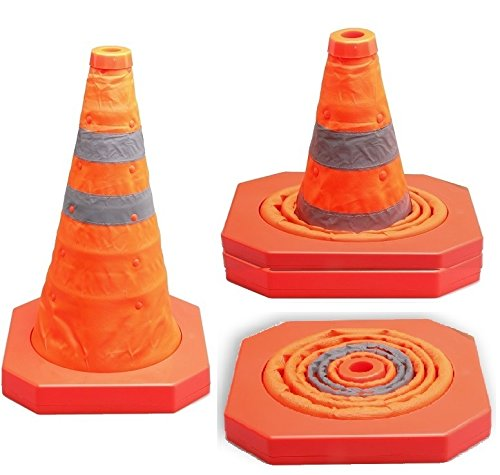 CARTMAN Collapsible Traffic Cones 15.5 Inches, Multi Purpose Pop up Reflective Safety Cones, Pack of 2