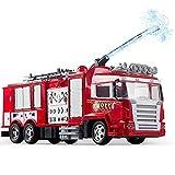 JY&WIN Control Remoto Camión rociador de Agua RC Camión de Bomberos Rescate Escalera contra Incendios Campana de Alarma Alarma contra Incendios Luces Intermitentes Rociador de Agua con un botón Reg