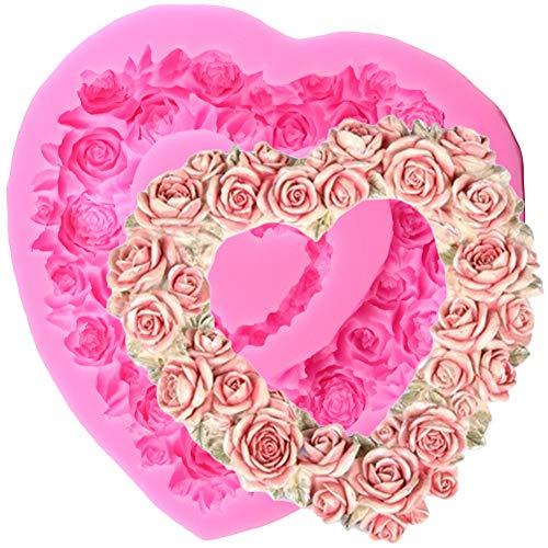 YCEOT siliconen vormen met rozenbloesem, groot, voor taart, om zelf te maken, voor bruiloftsdecoratie, fondant, chocolade, bonbons, kleivormen