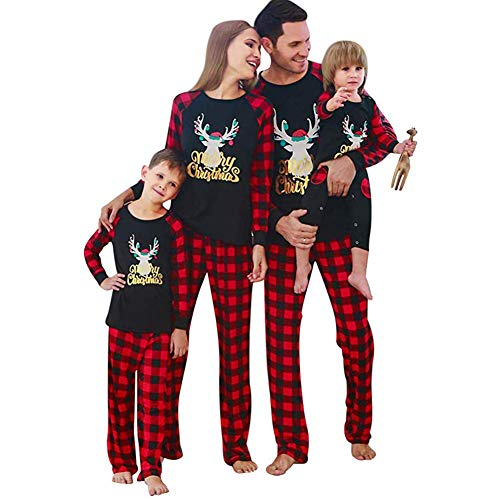 CARETOO Weihnachten Schlafanzug für die ganze Familie,Mutter/Vater/Kind Weihnachtselch Langarm Pyjamas Homewear Set