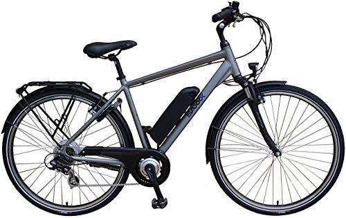 SAXXX Touring E-Bike Pedelec Rueda Trasera Motor 10,4Ah 250W 36V Batería de Iones de Litio (7velocidades Shimano Cadena Cambio Horquilla Negro Mate o Plata Mate, Plateado Mate