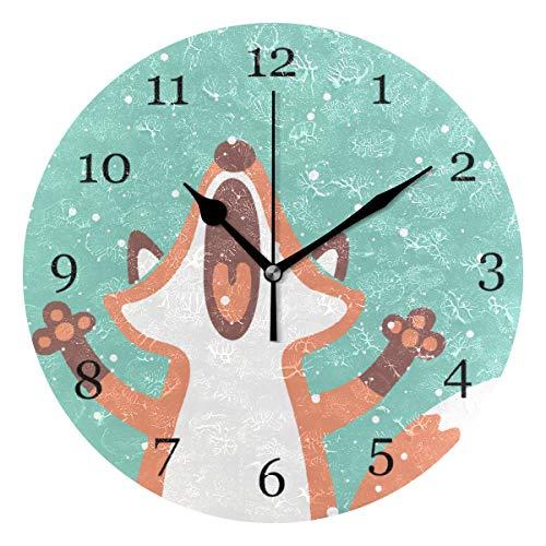 BIGJOKE Wanduhr, niedlich, Fuchs-Druck, einzigartig, batteriebetrieben, leise, Nicht tickend, runde Uhr für Büro, Schlafzimmer, Wohnzimmer, Moderne Klassenzimmer, Haus, Hotel, Dekoration, Kinder
