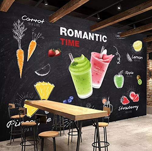 Dalxsh Aangepaste muur Schilderen 3D Drink Juice Art Muurschildering Bar Snack Bar Ice Cream Melk Thee Winkel Muurdecoratie Poster Wallpaper 200 x 140 cm.