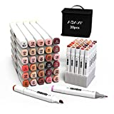 ADAXI 30 Colors Skin Tone Markers Dual Tip Marker Set, Alcohol Based Art Markers Artist Permanent Sketch Manga Marker Pens whit Upgraded Case for Portrait Illustration Drawing Coloring