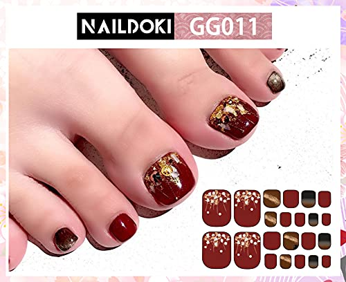 NAILDOKI6種類損傷のない足の爪ネイルシールネイルステッカーネイルラップネイルアクセサリーリアルネイルジェールステッカー女性可愛い人気おしゃれな上級