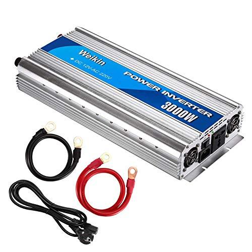 WeiKin Spannungswandler 3000 Watt DC 12V zu AC 220V Leistungswandler 3000W modifizierte Sinuswelle Car Power Inverter mit Batterieladefunktion (3000W, DC 12V bis AC 220V)