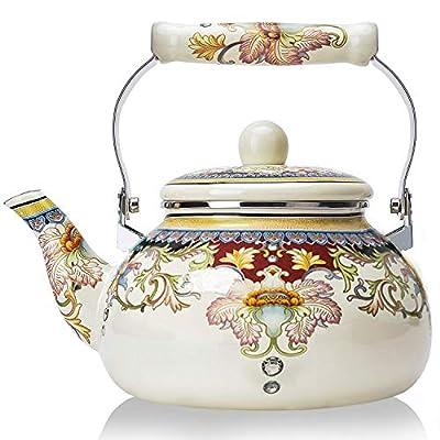 Floral Ceramic Enamel Teapot Tea Kettle for Stovetop,Large Porcelain Enameled Teakettle (white)