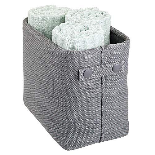 mDesign Cesta de tela con forro y diseño estructurado – Ideal como cesto para baño o como organizador de cosméticos – Práctico organizador de baño de tejido de algodón con asas – gris