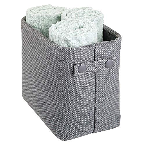 mDesign Soft Cotton Fabric Closet Storage Organizer Bin Basket Storage Organizer for Bathroom - Attached Handles - Use on Vanity, Cabinet, Shelf, Countertop - Tall - Charcoal Gray
