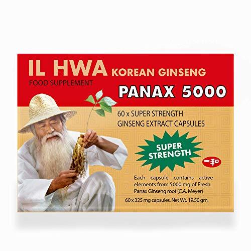 Il Hwa | Cápsulas de ginseng coreano súper fuertes | 325 mg de ginseng en polvo finamente molido de 6 años | Paquete de 325 mg x 60 cápsulas