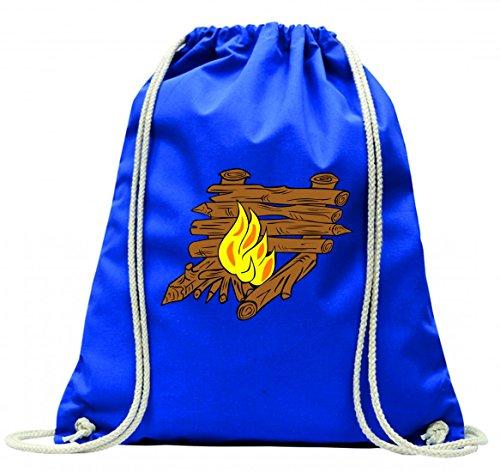 'Turn Bolsa 'hoguera de fuego de al aire libre fuego de Brasero de barbacoa Fiesta de camping de leña con cordón–100% algodón de bolsa Con Asas De Mochila de bolsa de deporte, azul