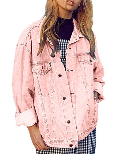Women Oversize Vintage Pink Denim Jacket with Ling Sleeves