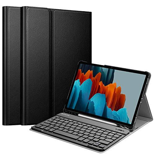 Fintie Tastatur Hülle für Samsung Galaxy Tab S7 11 Zoll 2020 SM-T870 / SM-T875 Tablet-PC, Ultradünn leicht Schutzhülle mit magnetisch Abnehmbarer drahtloser Deutscher Bluetooth Tastatur, Schwarz