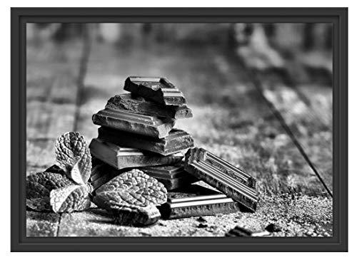 Picati chocoladestukken in schaduwvoegen fotolijst | kunstdruk op hoogwaardig galeriekarton | hoogwaardige canvasfoto alternatief 55x40