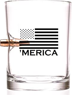 'MERICA - .308 Real Solid Copper Projectile Hand Blown Old Fashioned Whiskey Rocks Glass