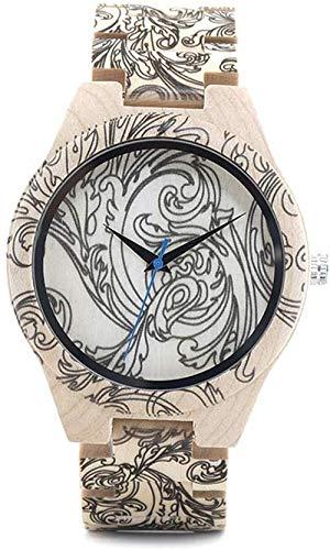 LLDKA Kreative Muster aus Holz Uhr natürlichen Ahornholz mit japanischem Quarzwerk-Analog-Frauarmband