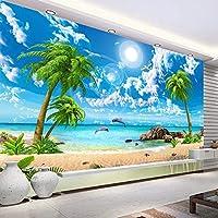 カスタム壁画壁紙 Hd 美しい砂浜海の景色ビーチココナッツの木 3D 写真の背景の壁画の家の装飾,250(W)*175(H)Cm