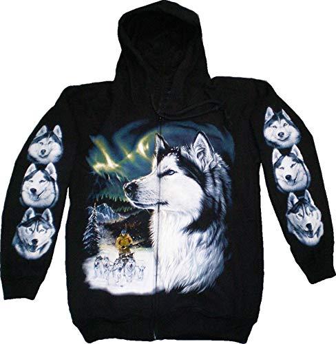 Jacke 4619 Herren Damen Pullover Kaputzen Jacke S-XL black Sherpa Hoodie Sweatshirt Kaputzen Pulli #1-S