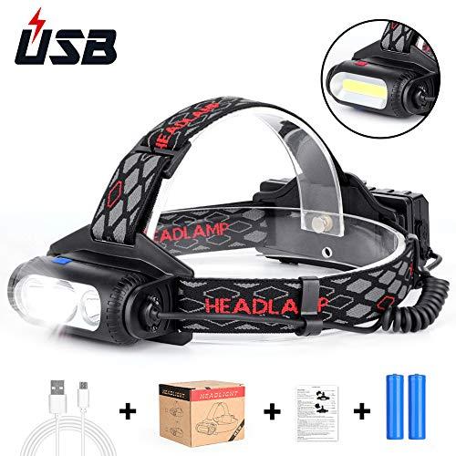 Haofy Stirnlampe LED Wiederaufladbar Kopflampe, 8 Leuchtmodi IPX54 wasserdichte 360° Drehung Head Torch Headlight, für Arbeiten Camping Laufen Radfahren Wandern/Ultraheller LED Arbeitsscheinwerfer
