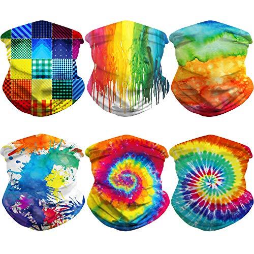 6 Pieces Tie Dye Print Bandana Hippie Bandana Face Bandana Scarf Neck Gaiter Seamless Face Cover Sun Protection Outdoor Balaclava (Rainbow)