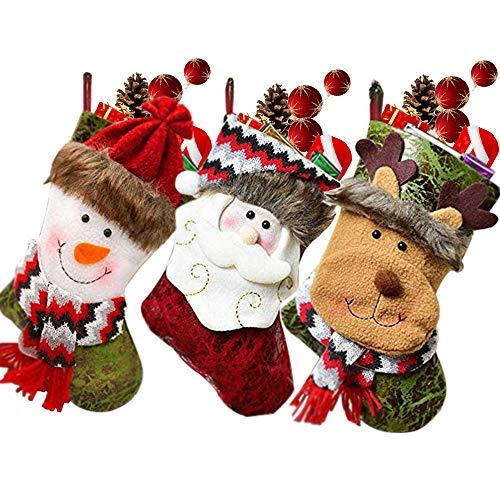 SPECOOL - Medias Colgantes para Navidad, 3 Unidades, Hechas a Mano, para decoración, Bolsa de Caramelos con Bordado 3D de Papá Noel, Reno, muñeco de Nieve para Rellenar y Colgar en Cuero